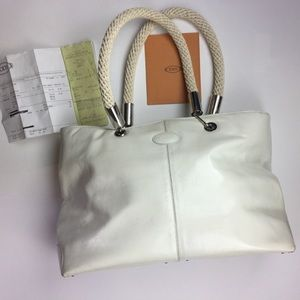Tod's white patent leather tote bag, rope handles
